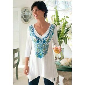 Soft Surroundings asymmetrical embroidered top